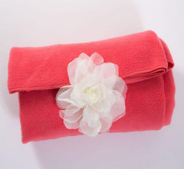 Coral Fleece Blanket with Detachable Flower