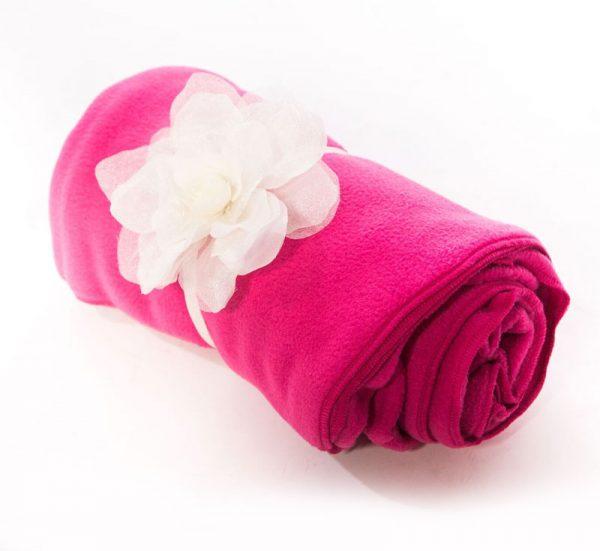 Fuchsia Fleece Blanket with Detachable Flower