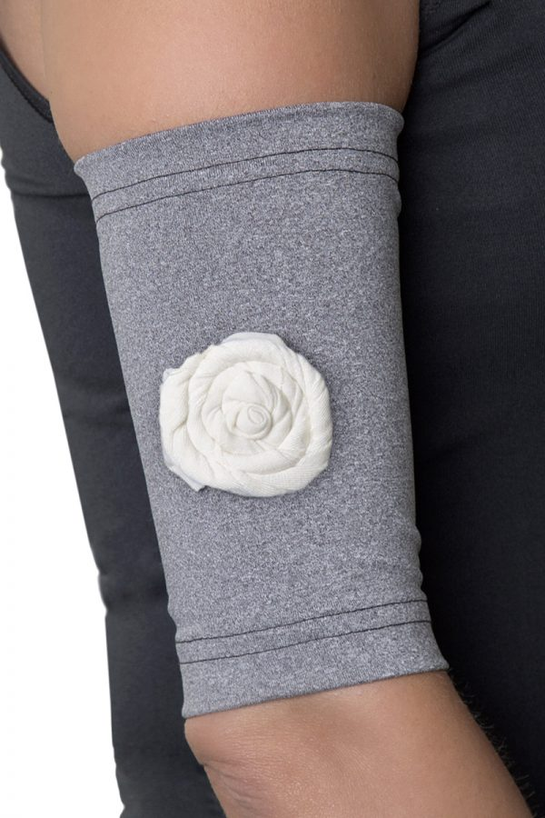 Gray Picc Line Sleeve with Cream Rosette.jpg