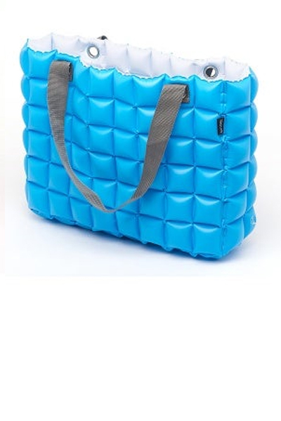 Light Blue/White Inflatable Reversible Tote Bag