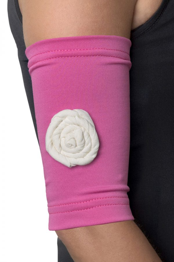 Pink Picc Line Sleeve with Cream Rosette