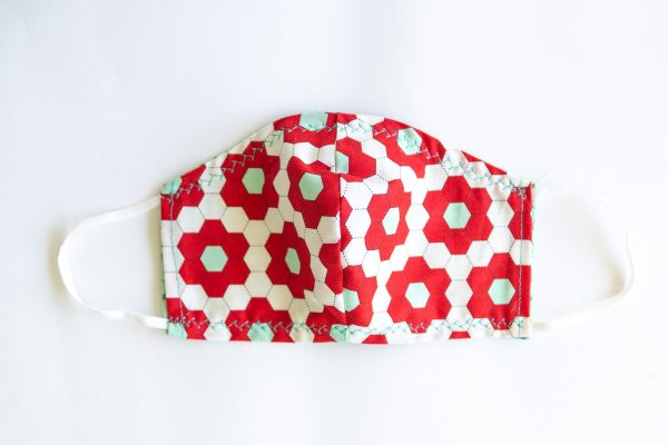 Red, Mint Green & Cream Patterned Facial Mask