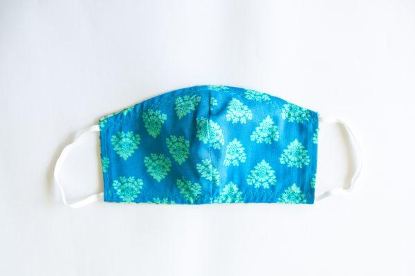 Ocean Blue & Mint Green Pattern Mask