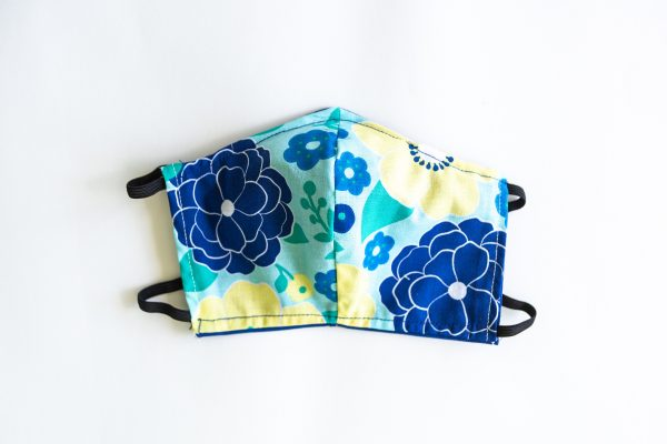Blue, Teal & Yellow Floral Facial Mask