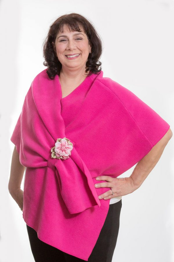 Fuchsia Pink Fleece Shoulder Wrap